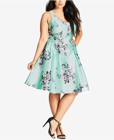 8109088f99a2a7 City Chic Plus Size Floral-Print Flare Dress