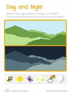 Does your curious preschooler know what objects belong in the day and in the night? Let her sort owls, stars, rainbows and more into an adorable daytime or nighttime scene. Free Preschool, Preschool Printables, Preschool Worksheets, Free Printables, Kindergarten Science, Teaching Science, Preschool Activities, Preschool Curriculum, Good Night Moon