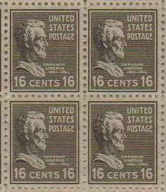 Abraham Lincoln Set of 4 x 16 Cent US Postage Stamps NEW Scot 821 . $29.95…