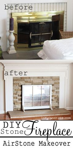 Airstone Fireplace makeover on a budget. If you want a stone fireplace it can be yours with a product called Airstone. Airstone Fireplace, Fireplace Redo, Fireplace Remodel, Fireplace Ideas, Fireplace Makeovers, Fireplace Cover, Fireplace Brick, Brass Fireplace Makeover, Fireplace Candles