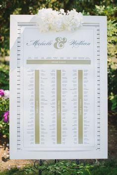 Elegant seating chart: http://www.stylemepretty.com/canada-weddings/british-columbia/vancouver/2015/03/17/elegant-vancouver-botanical-garden-wedding/ | Photography: Taryn Baxter - http://blog.tarynbaxter.com/