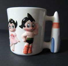 Vintage ASTRO BOY & GIRL Ceramic MUG Uran Atom JAPAN Shin & Co TEZUKA Labels