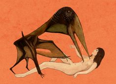 """A popular motif in classical mythology is that of Zeus turning into a swan and raping a maiden named Leda in a fit of lust. Here, I imagined the same scenario with the closest animal there was to a """"giant swan,"""" a flying reptile known as Zhejiangopterus. The impossible union has unfortunately resulted in the monster piercing the maiden through the heart. www.cmkosemen.com"""