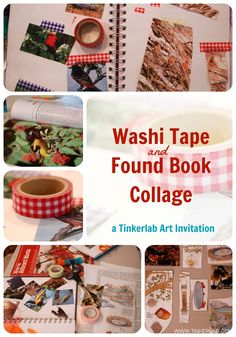 Easy art invitation for kids: washi tape and found paper collage