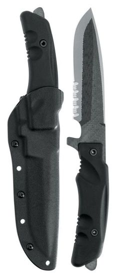 Fox Stealth Fixed Blade Knife,5.5in,Partially Serrated Blade,Black Forprene Handle @aegisgears