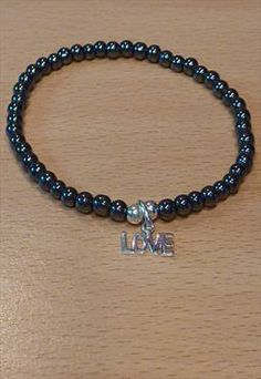 Hematite Bracelet with Sterling Silver LOVE