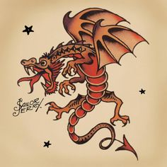 Traditional Dragon Tattoo Sailor Jerry Jerrys dragons clearly asian