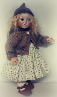 """Jointed cloth doll (11"""") Freja by Susie McMahon"""