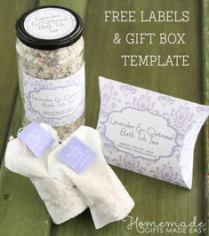 Tea Labels, Gift Labels, Easy Homemade Christmas Gifts, Homemade Crafts, Diy Crafts, Diy Tea Bags, Lavender Crafts, Lavender Ideas, Oatmeal Bath