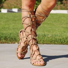 de4494c930fd Taupe Braided Strap Mid-Calf Summer Gladiator Sandals Faux Leather