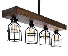Farmhouse Lighting Triple Wood Beam Rustic Decor Chandelier Light -Rustic Lighting for Kitchen Island Lighting, Dining Room, Bar, Industrial, and Billiard Table-Wooden Light with Edison Cages (Smooth) Farmhouse Chandelier, Rustic Chandelier, Farmhouse Lighting, Pendant Chandelier, Rustic Lighting, Chandelier Lighting, Lighting Ideas, Ceiling Lighting, Iron Chandeliers
