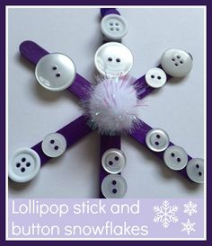 Lollipop stick and button snowflakes