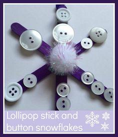 Lollipop stick and button snowflakes