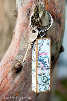 Keychain made from a Jenga piece. I love the idea of mod podging it with map cuttings.