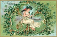 Full Sized Image: THE DEAR LITTLE, SWEET LITTLE SHAMROCK OF IRELAND spirit in white holds shamrock - TuckDB
