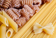 Pasta in different shapes and colors.