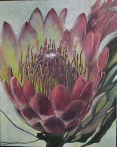 Protea: Oil on canvas by Susan Slump Venter Protea Art, Protea Flower, Pictures To Paint, Art Pictures, Watercolor Flowers, Watercolor Art, Dream Painting, Botanical Prints, Art Oil