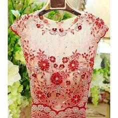 Petite - Plus Size Red Ivory Beaded Mermaid Second Wedding Bridal Dress SKU-117027