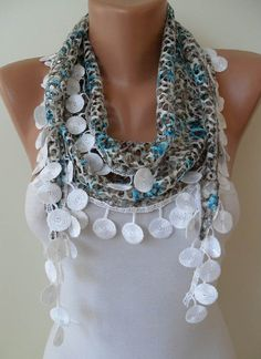 Perforated Fabric  Blue Grey White Spring Scarf by SwedishShop, $15.90