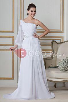 ワンショルダースリーブ床長さのウェディングドレス