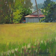 Field Day - Plein air oil landscape painting of golden field and barn in late spring in southern Michigan  www.jillwagnerart.com