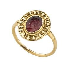 Gothic Signet Ring with My Name Is John, late: 13th century, French or Italian (?). Gold and carnelian. Weight 4.68 g.; diam. 19.5 mm.; bezel 9.5 x 12 mm. © The Metropolitan Museum of Art.