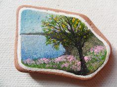 Clovelly flowers - Acrylic miniature painting on Scottish sea pottery