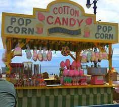 Max had so much fun getting the Cotton Candy Booth for Men in Black 3 - I looked forward to seeng it put together on the boardwalk a week before it was done Popcorn Stand, Popcorn Shop, Snow Cone Stand, Snow Cones, Willy Wonka, Boardwalk Theme, Beach Boardwalk, Candy Booth, Concession Food