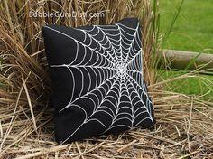 Spider Web Pillow Cover Creepy Chic Halloween by BubbleGumDish