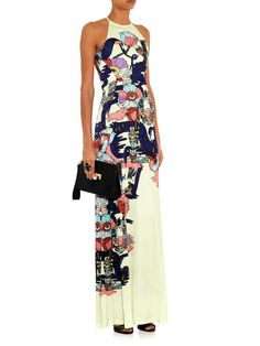 Mary Katrantzou Poppies Liquorice-print jersey dress