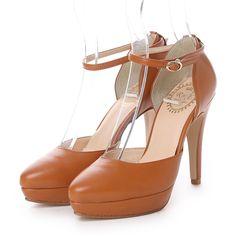 アールアンドイー R&E 【R&E】低反発インソール セパレートストラップパンプス (キャメル) -靴とファッションの通販サイト ロコンド