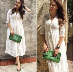 Neha Dhupia # love for whites # casual day look # Indian fashion tunic Trendy Dresses, Modest Dresses, Trendy Outfits, Nice Dresses, Casual Dresses, Western Dresses, Indian Dresses, Indian Outfits, Western Wear