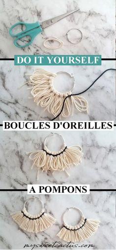 Do it yourself de boucles d'oreilles ethniques originales à pompons pour un look unique ! Tuto facile dispo sur le blog #diy #doityourself #earings #accessoires