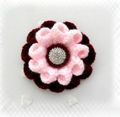Crochet Brooch -Crochet Corsage Brooch Burgundy Pink Flower with Rhinestone Button