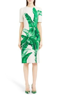 Dolce&Gabbana Dolce&Gabbana Banana Leaf Print Cady Dress available at #Nordstrom