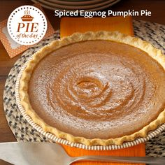 Spiced Eggnog Pumpkin Pie Recipe from Taste of Home -- shared by Patti Leake, Columbia, Missouri