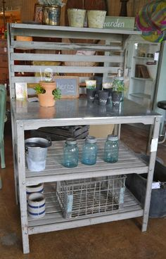 Potting Bench - Like the two lower shelves and stainless top.