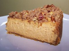 Pumpkin Cheesecake with Pecan Crumble - Gluten Free #TDayRoundUp Entry by @EZ Gluten Free