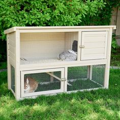 Features:  -Made from ecoFLEX, won't get moist, warp, crack, or split.  -Hutch is the perfect size for any bunny.  -Bi-level living space with easy access to grassy area.  -Requires little maintenance