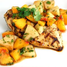 Grilled Chicken with Peach and Apple Salsa