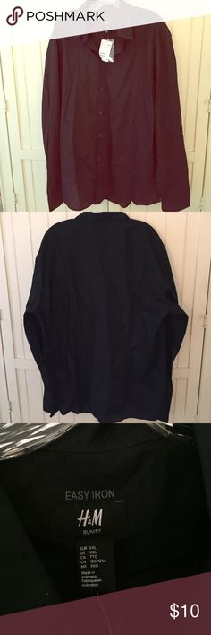 Men's H&M Button Down Shirt Men's black H&M easy iron button down shirt. Never worn and with tags. Size XXL, 65% polyester, 35% cotton. H&M Shirts Dress Shirts