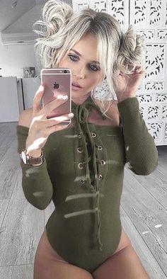 Long Sleeve Shoulderless Leotard Army Green