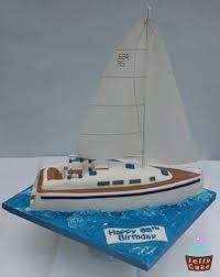 A Birthday Cake modelled on a Yacht. Cupcakes, Cupcake Cakes, Nautical Birthday Cakes, Nautical Theme, Birthday Cake Models, Sailboat Cake, Aniversary Cakes, Plain Cake, Specialty Cakes