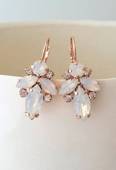 White opal earrings,Bridal earrings,Rose gold earrings,white opal drop earrings,Bridesmaid gift,crystal earrings,Vintage Bridal earrings