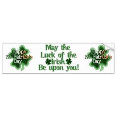 Happy St Patrick's Day (Irish Flag Color Text) Bumper Sticker #stpatricksday #bumper #stickers