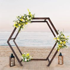 7FT Rustic Elegant Hexagonal Wooden Backdrop Stand | Heavy Duty Dark Brown Double Sided Wedding Arch Stand | TableclothsFactory Photo Booth Backdrop, Backdrop Stand, Rustic Elegance, Rustic Style, Rustic Feel, Wooden Arch, Metal Arch, Wedding Arch Flowers, Wedding Colors