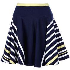 SACAI LUCK striped skirt featuring polyvore women's fashion clothing skirts bottoms saias blue blue skater skirt high-waist skirt blue stripe skirt high waisted circle skirt blue high waisted skirt