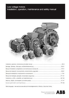 Low voltage motors - Installation, operation, maintenance and safety manual - ABB Generators, Electrical Engineering, Electric Motor, Transformers, Motors, Manual, Safety, Knowledge, Electronics