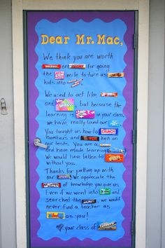 this door is AMAZING - although i would be worried that middle schoolers passing by would snag the candy! ha!
