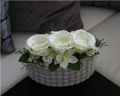 Růže s orchidejemi v keramickém oválku Flower Diy, Diy Flowers, Diy Crafts, Artificial Plants, Make Your Own, Homemade, Craft, Diy Artwork, Diy Crafts Home